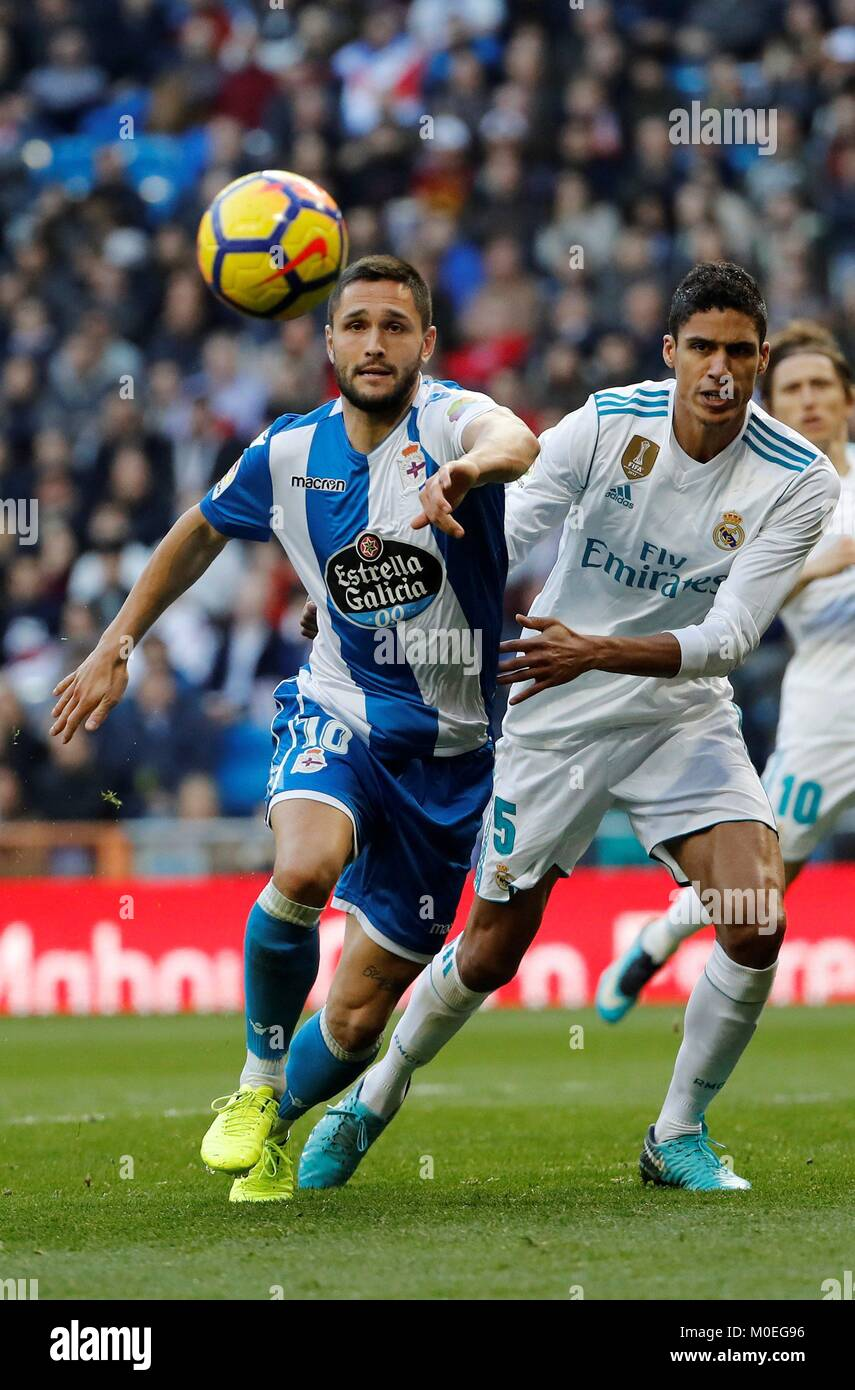 74be23f9c44 Real Madrid s French defender Raphael Varane (R) and Deportivo s Romanian  striker Florin Andone (L) in action during a Spanish league La Liga soccer  match ...