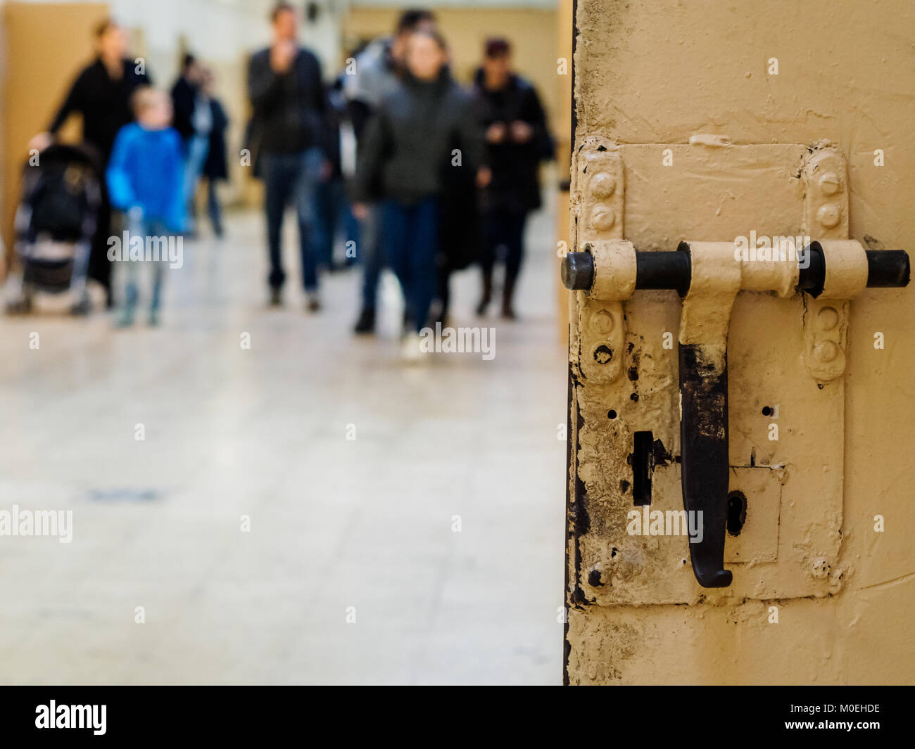 """Barcelona, Spain. 21st Jan, 2018. The visitors could walk the galleries of the old prison """"La Model"""" in Barcelona, Stock Photo"""