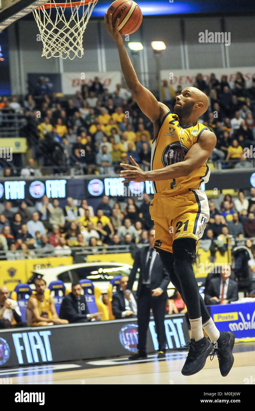 Turin, Italy. 21st Jan, 2018. Andre Jones (Fiat Auxilium Torino) during the CAMPIONATO BASKET SERIE A 2017/18 basketball Stock Photo