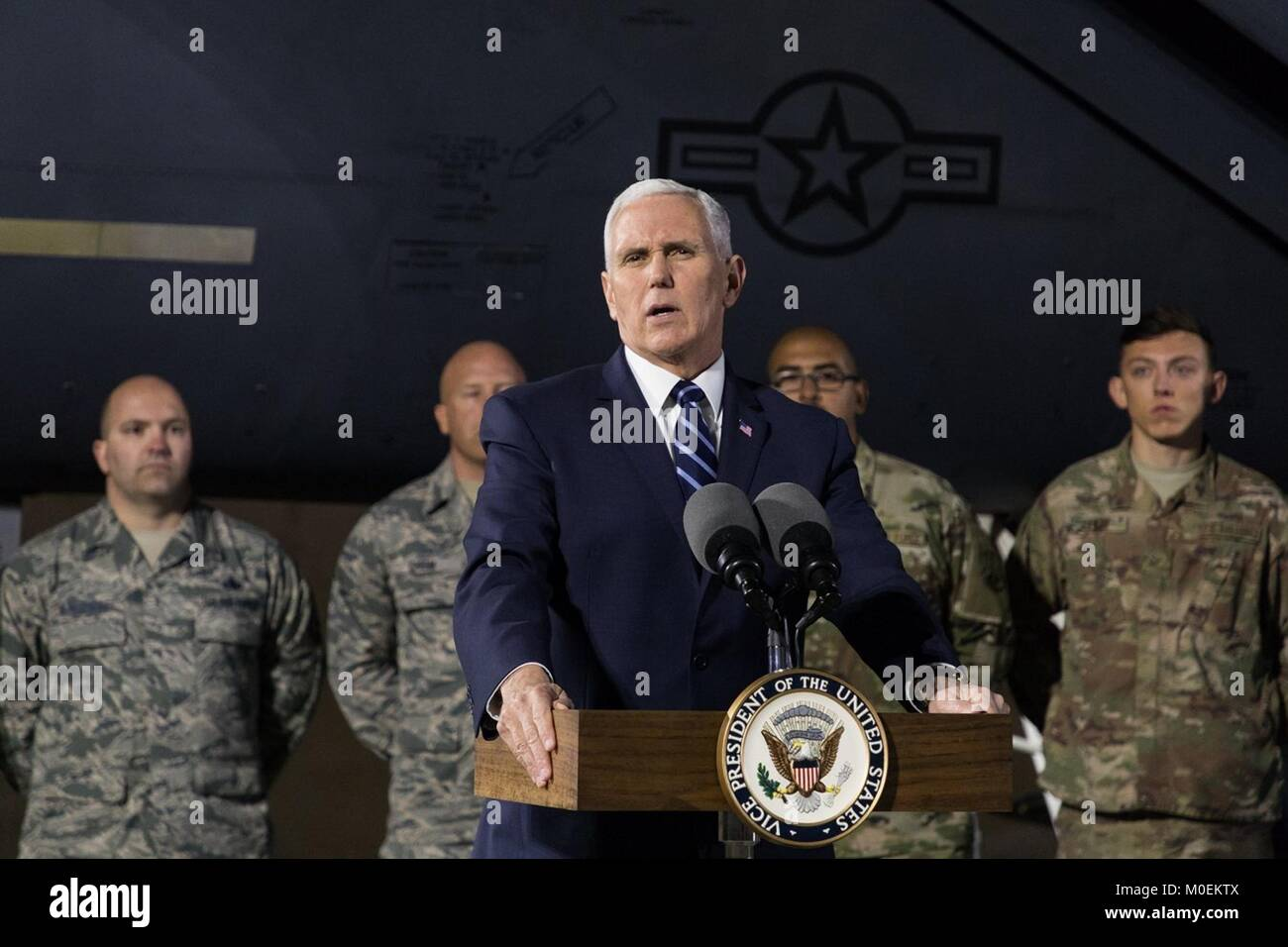 U.S. Vice President Mike Pence addresses U.S. service members with the 332nd Air Expeditionary Wing January 21, - Stock Image