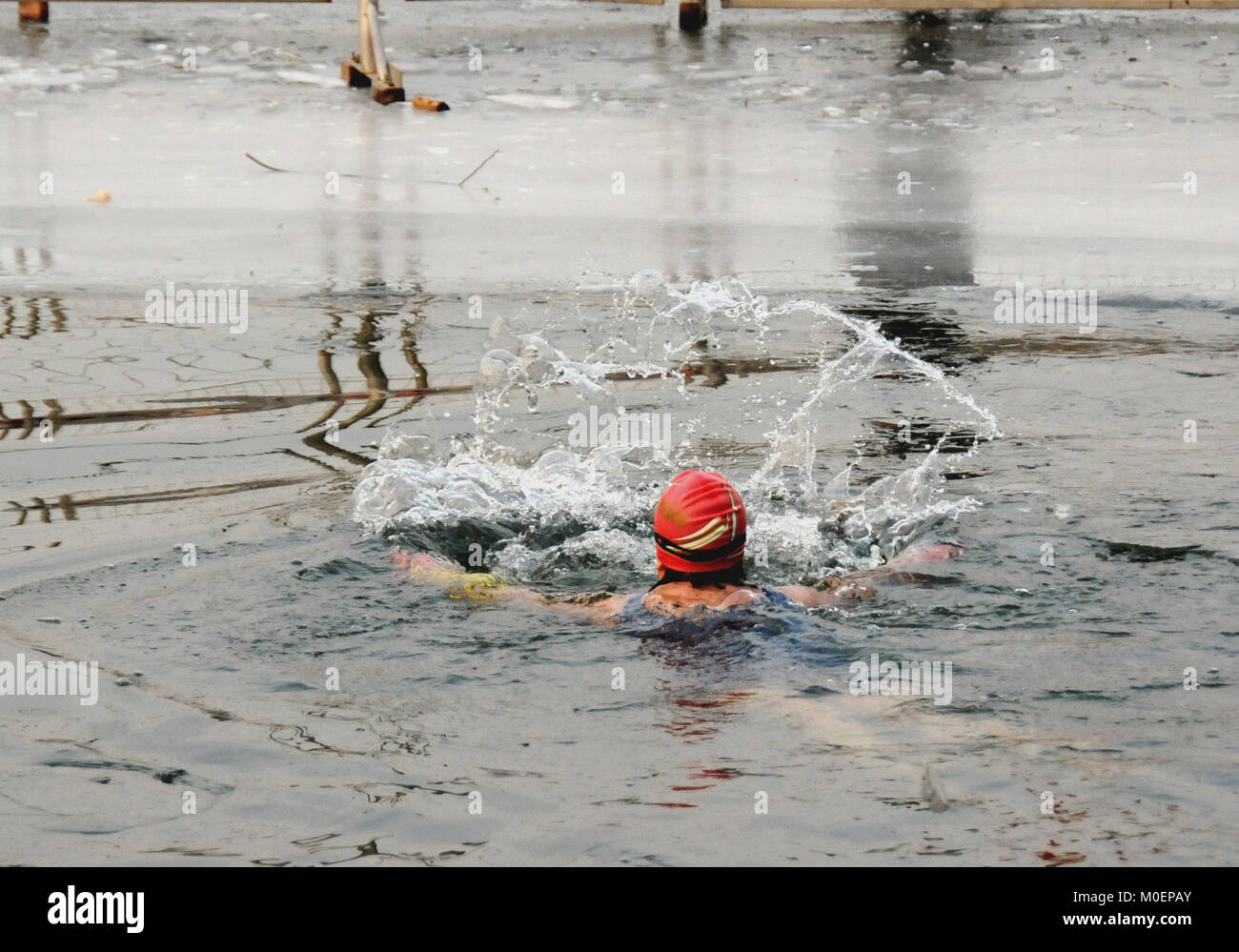 Beijing, Beijing, China. 21st Jan, 2018. Beijing, CHINA-21st January 2018: Winter swimmers can be seen at Shichahai - Stock Image