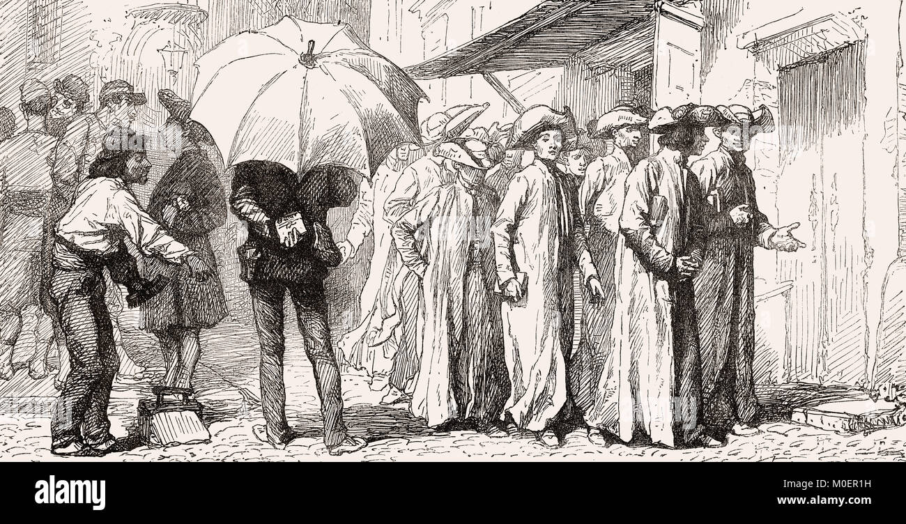 Religion students with shovel hats, Rome, Italy, 19th Century - Stock Image