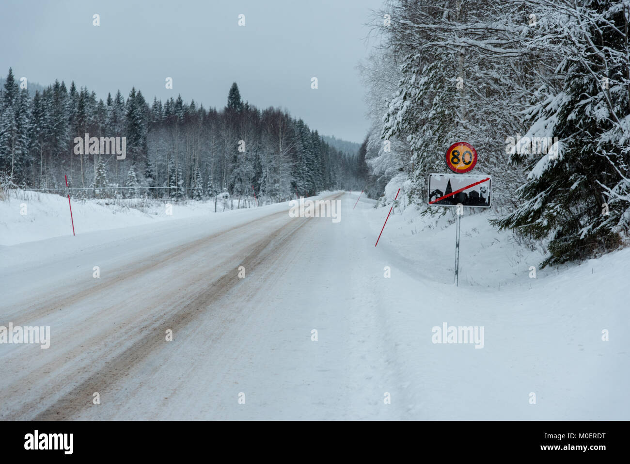 traffic sign with 80 kilometer per hour in varmland sweden - Stock Image