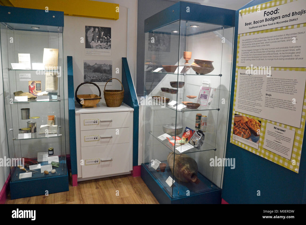Display of local artefacts at Wycombe Museum - Stock Image