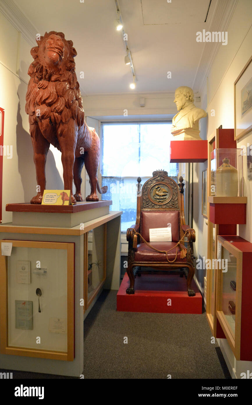 The Red Lion statue at Wycombe Museum - Stock Image