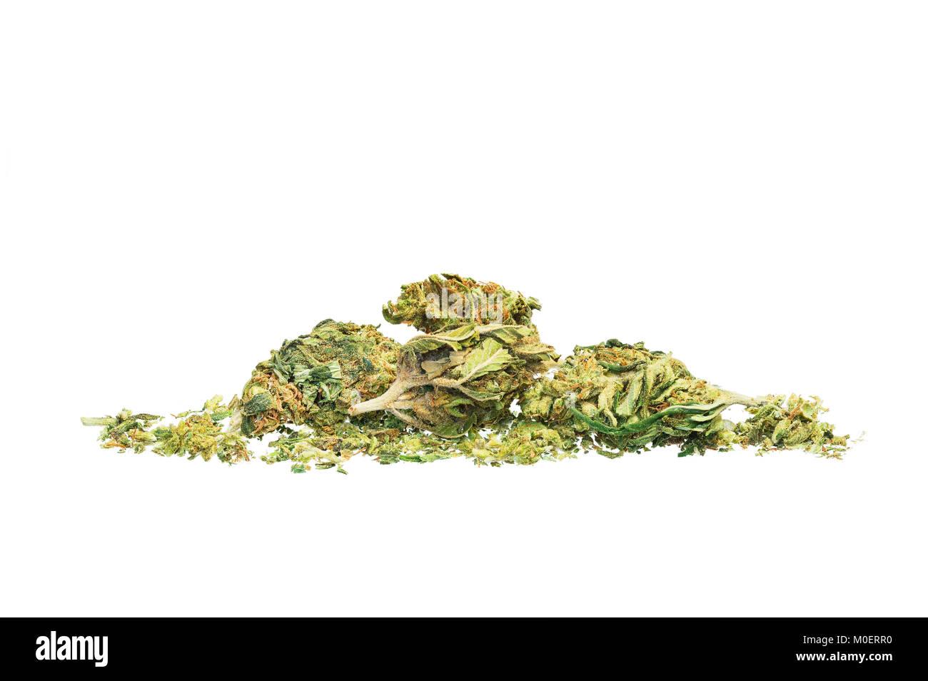 High grade marijuana against a white background - Stock Image