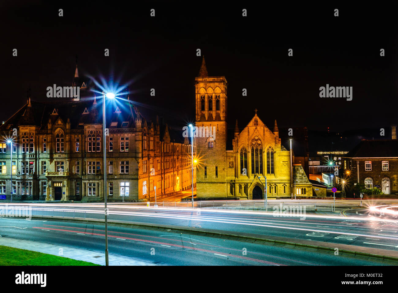 Ramsden building and The former Milton Utd Reformed Church and Plaza nightclub on Queen St South, Huddersfield, Stock Photo