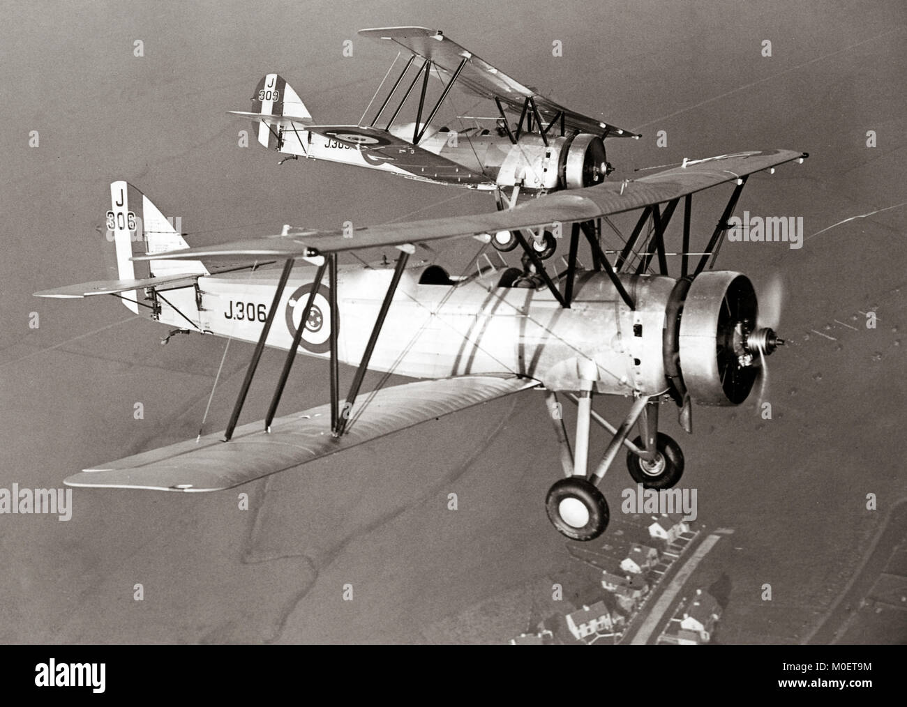 Avro Tutor biplane, Egyptian Army Air Force, 1933 Training flight in England - Stock Image