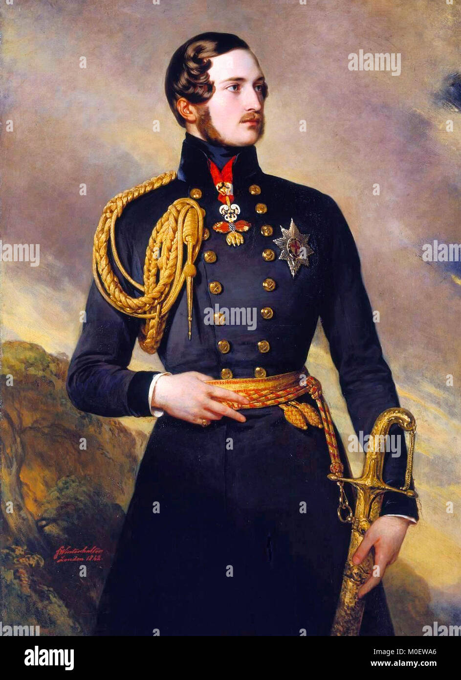 Prince Albert of Saxe-Coburg and Gotha wearing the Golden Fleece, painted by Franz Xaver Winterhalter in 1842. - Stock Image