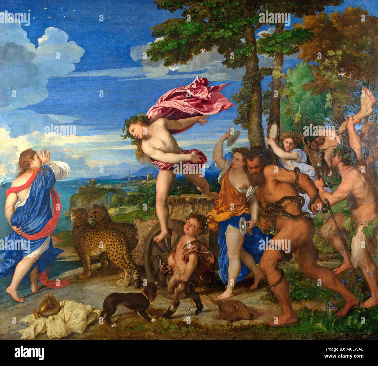 Bacchus and Ariadne - Titian - circa 1490  Theseus, whose ship is shown in the distance, has just left Ariadne on - Stock Image
