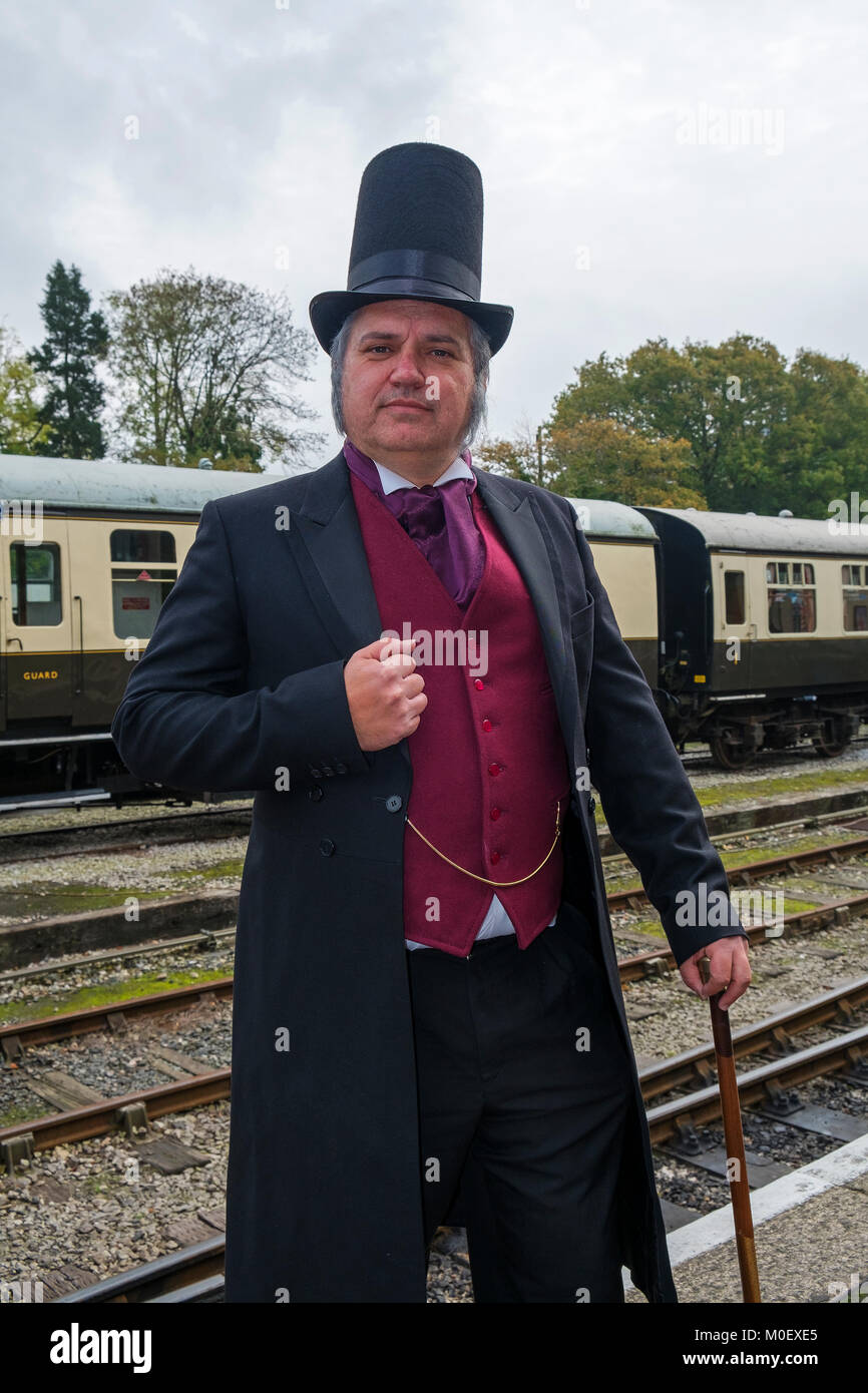 man dressed as isambard kingdom brunel at bodmin and wenford steam railway for the annual victorian day. - Stock Image