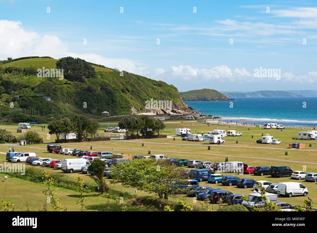 pentewan sands holiday caravan and camping park near mevagissey in cornwall, england, britain, uk. - Stock Image