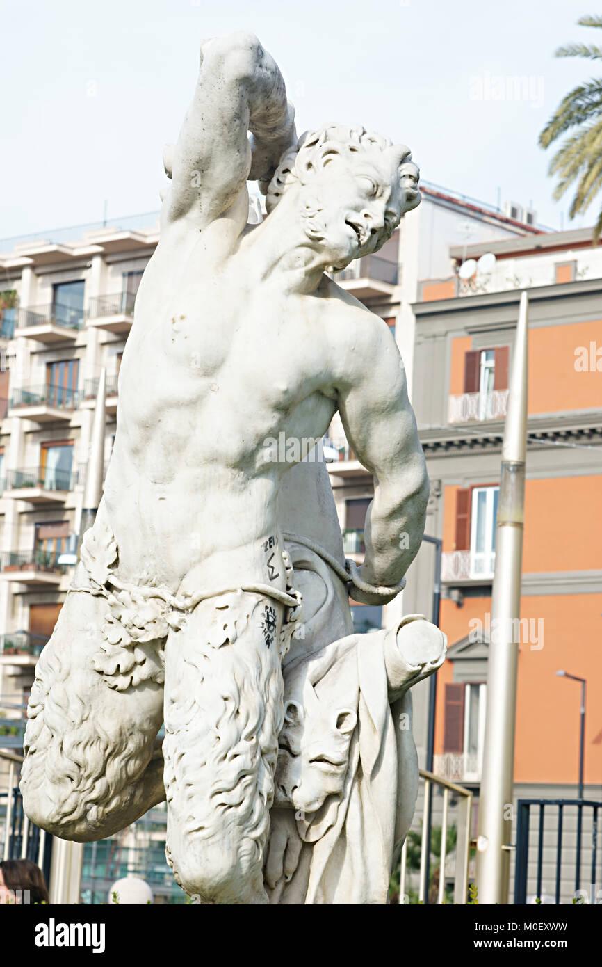 Statue in public garden, Villa comunale, Naples, italy - Stock Image