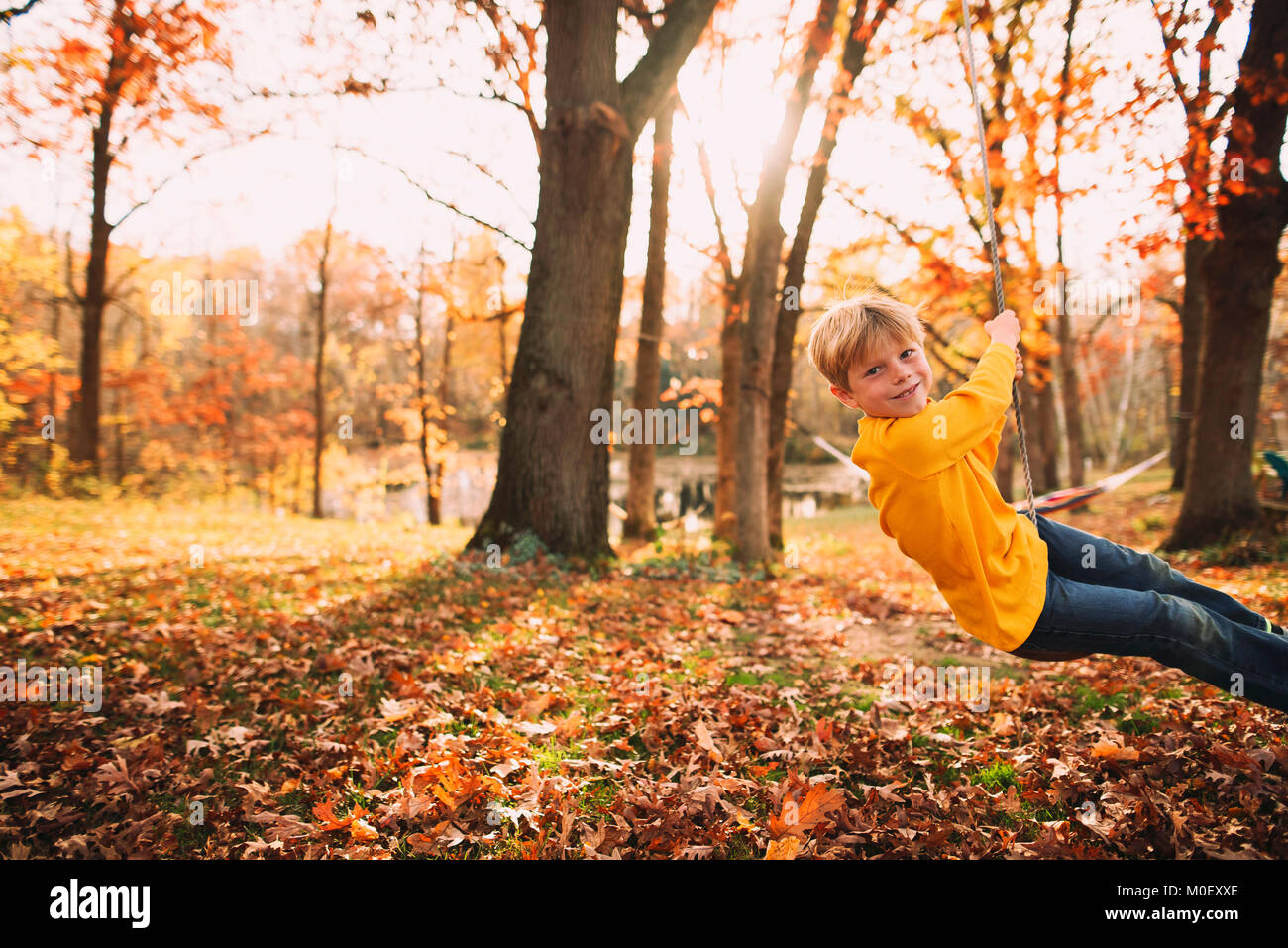 Boy sitting on a rope swing in the garden - Stock Image