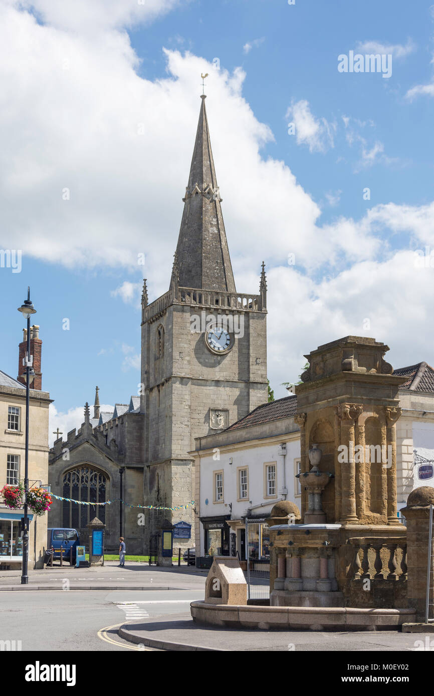 Market Place showing St Andrew's Anglican Church, Chippenham, Wiltshire, England, United Kingdom - Stock Image