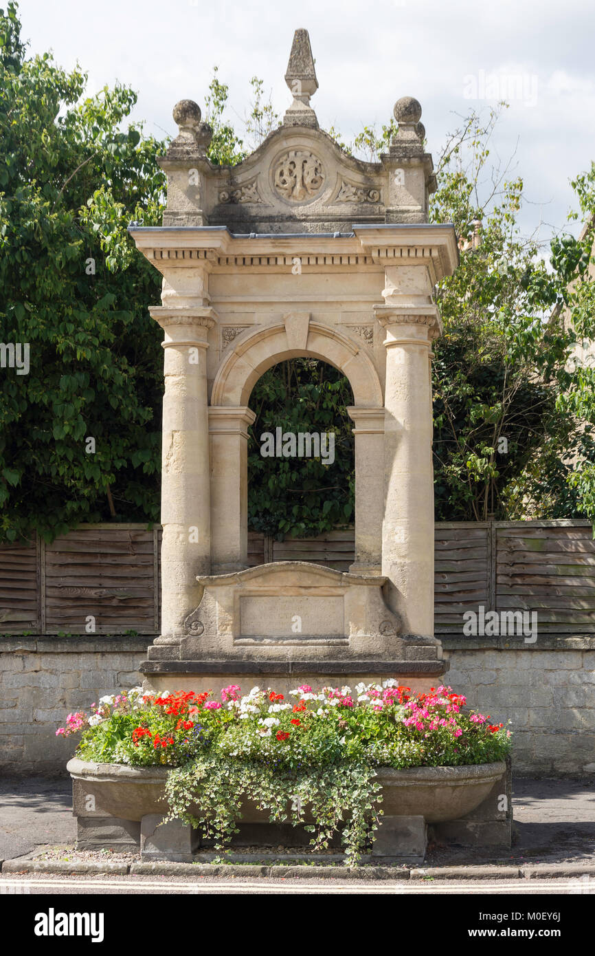 Mayo Memorial fountain and drinking trough, High Street, Corsham, Wiltshire, England, United Kingdom - Stock Image