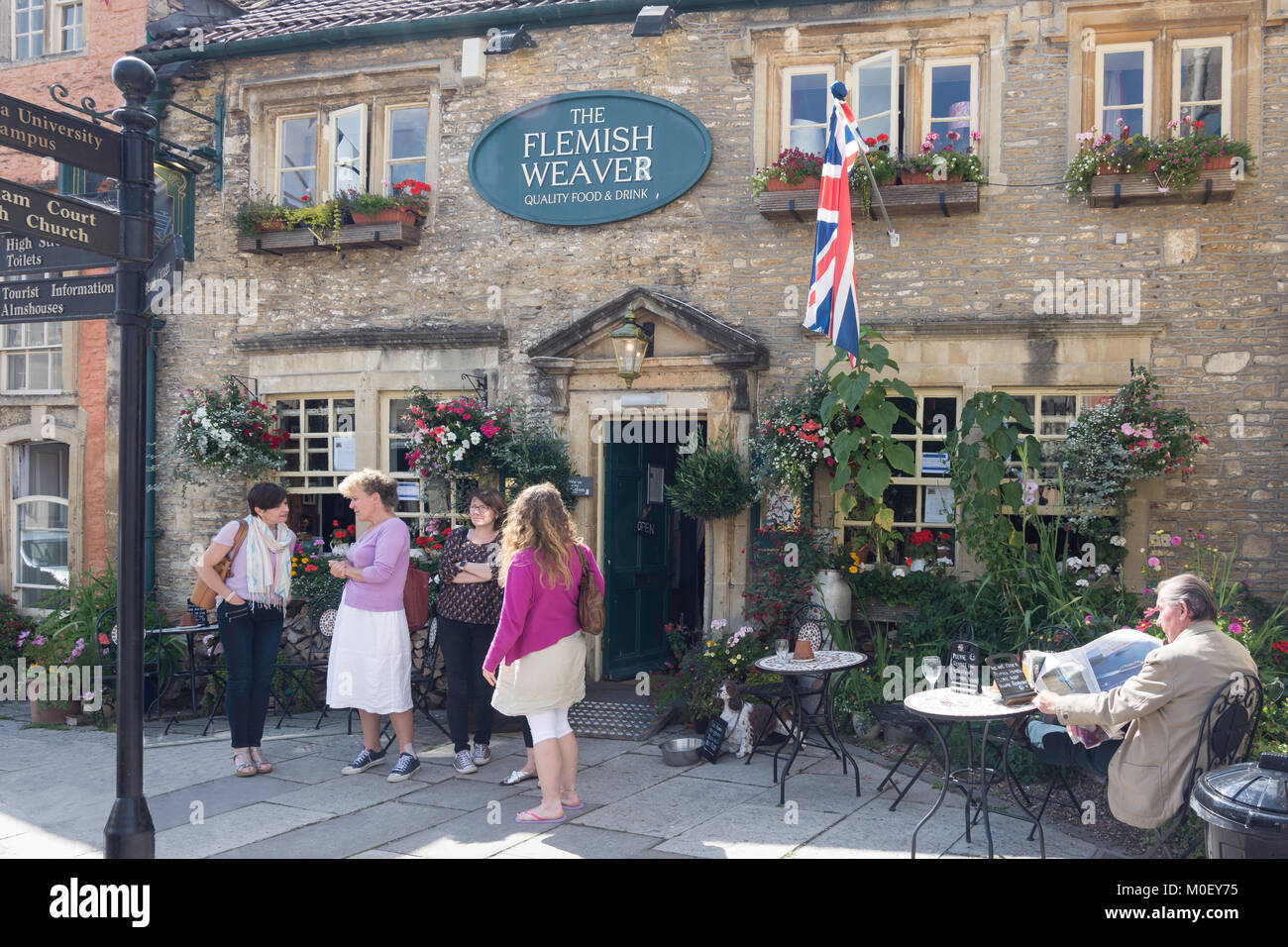 17th century The Flemish Weaver Pub, High Street, Corsham, Wiltshire, England, United Kingdom - Stock Image