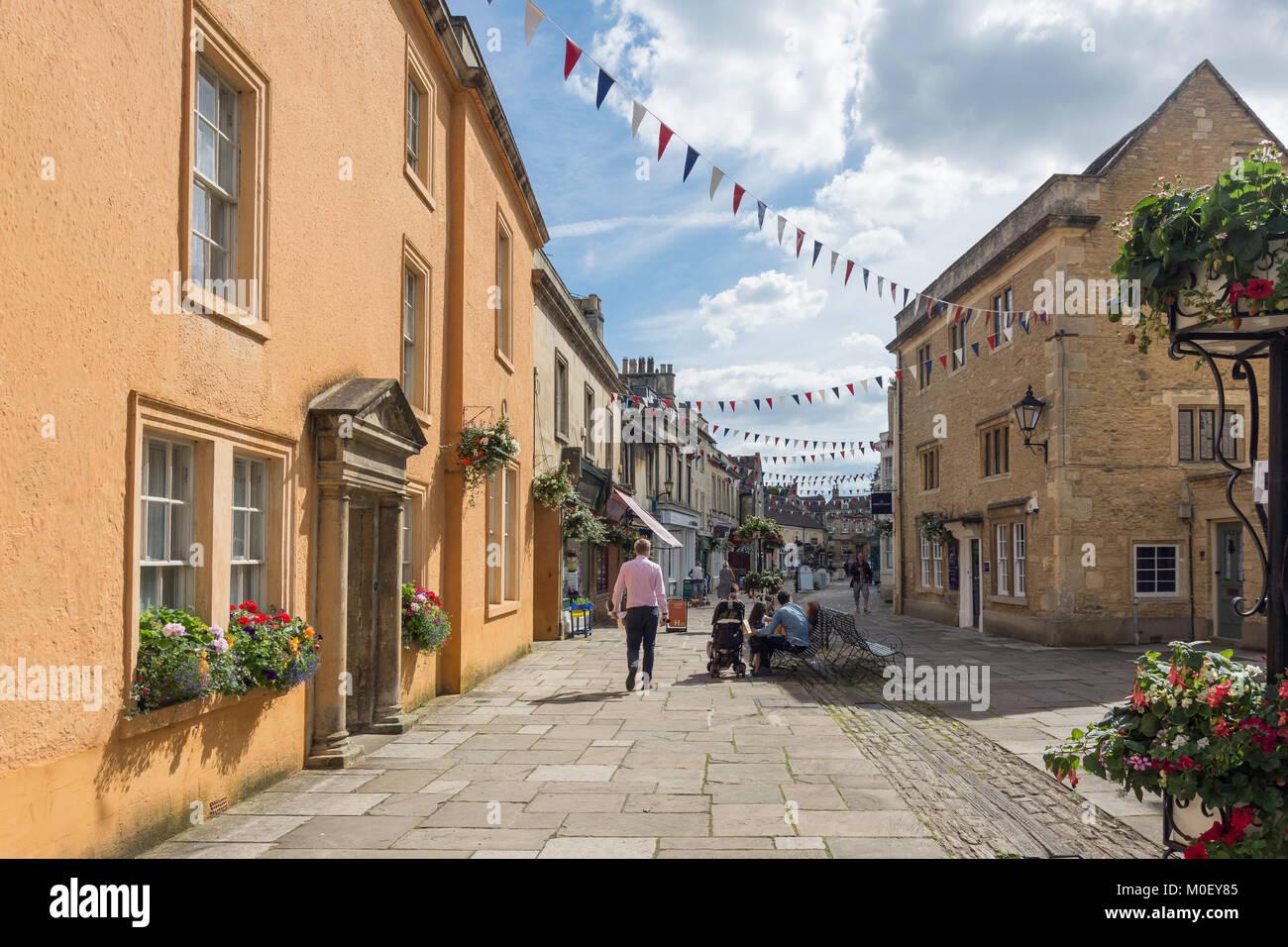 Pedestrianised High Street, Corsham, Wiltshire, England, United Kingdom Stock Photo