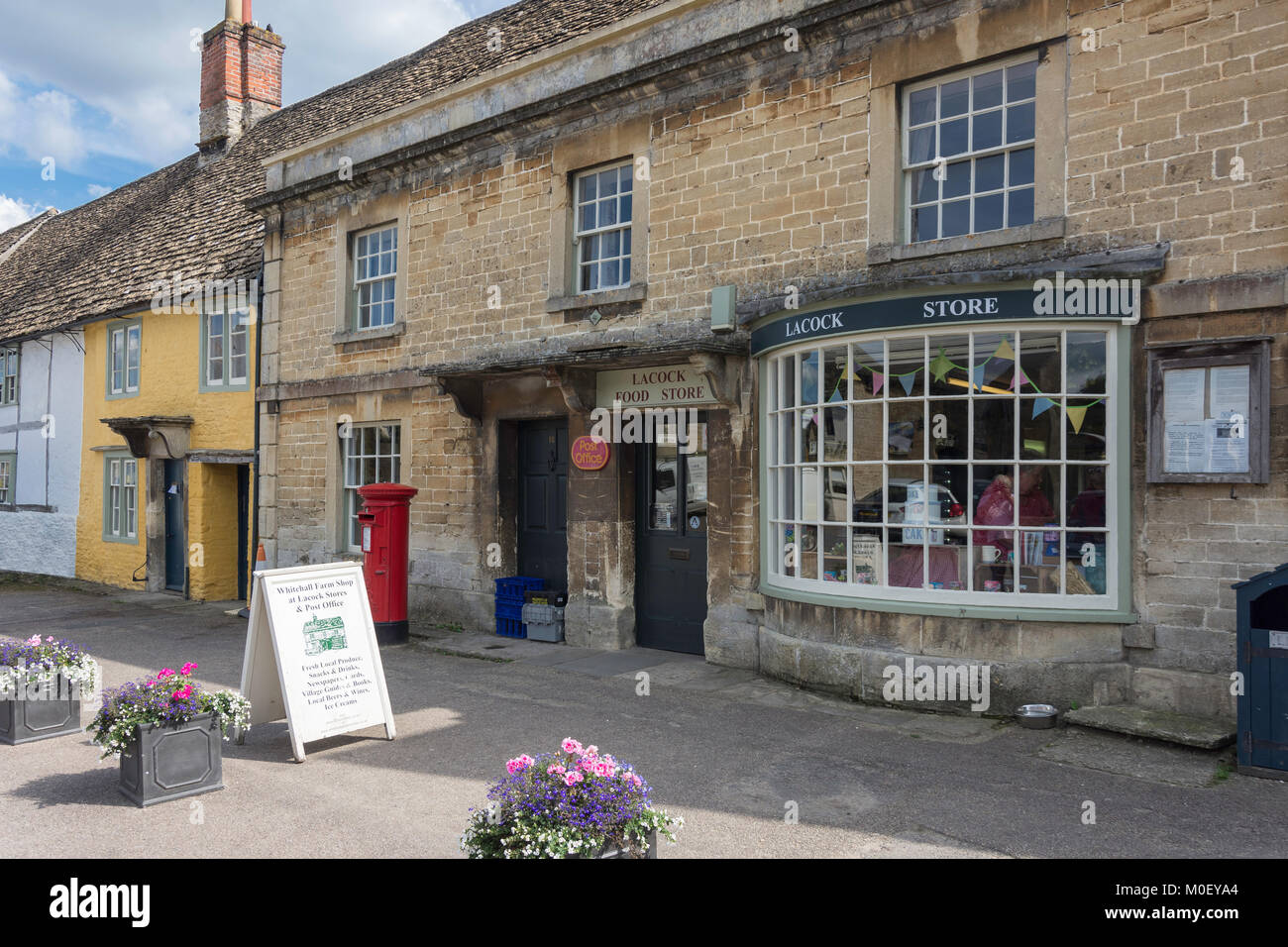 Whitehall Farm Shop at Lacock Stores and Post Office, High Street, Lacock, Wiltshire, England, United Kingdom - Stock Image