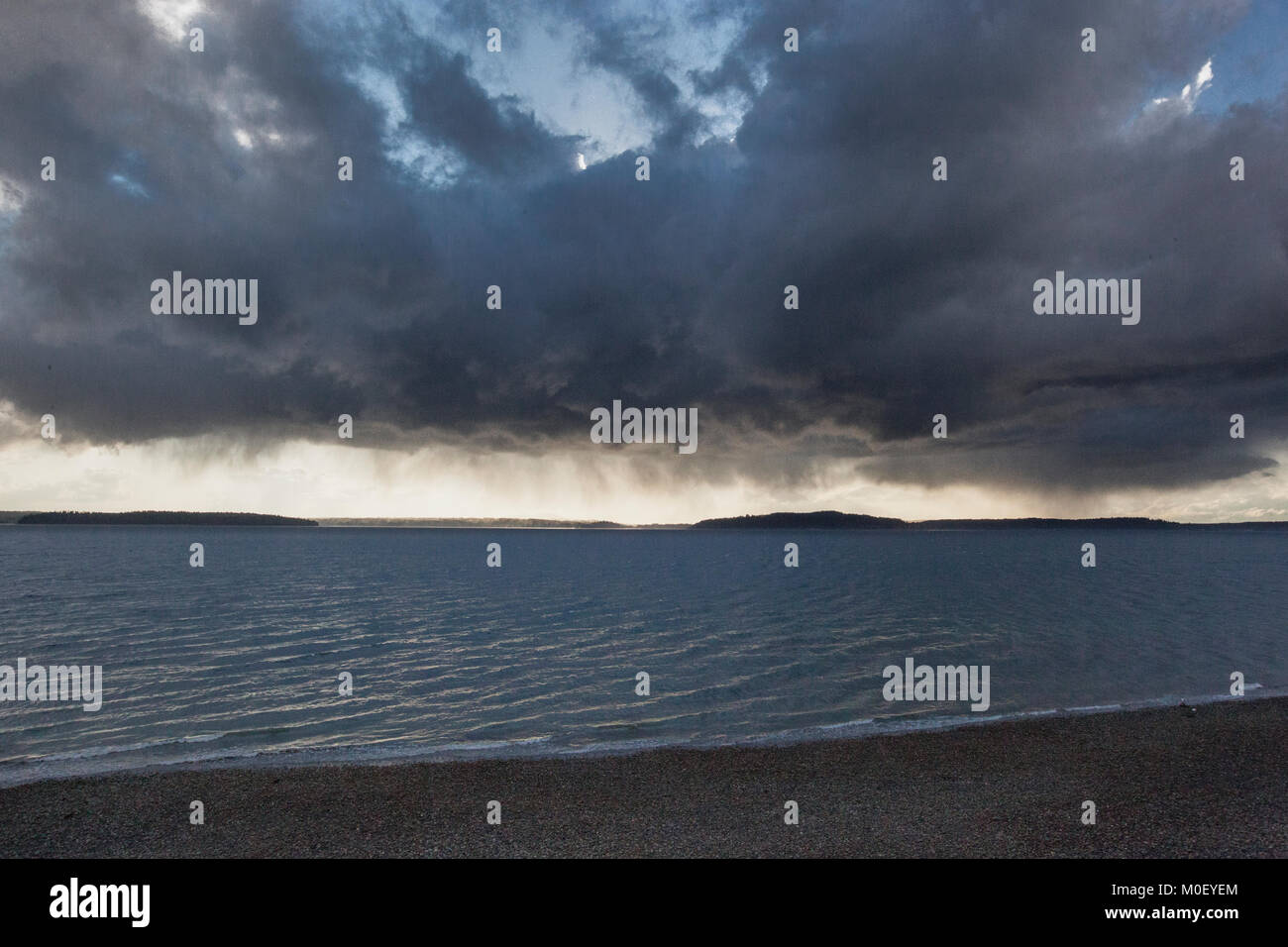 A squall passing over Puget Sound, Washington, USA - Stock Image
