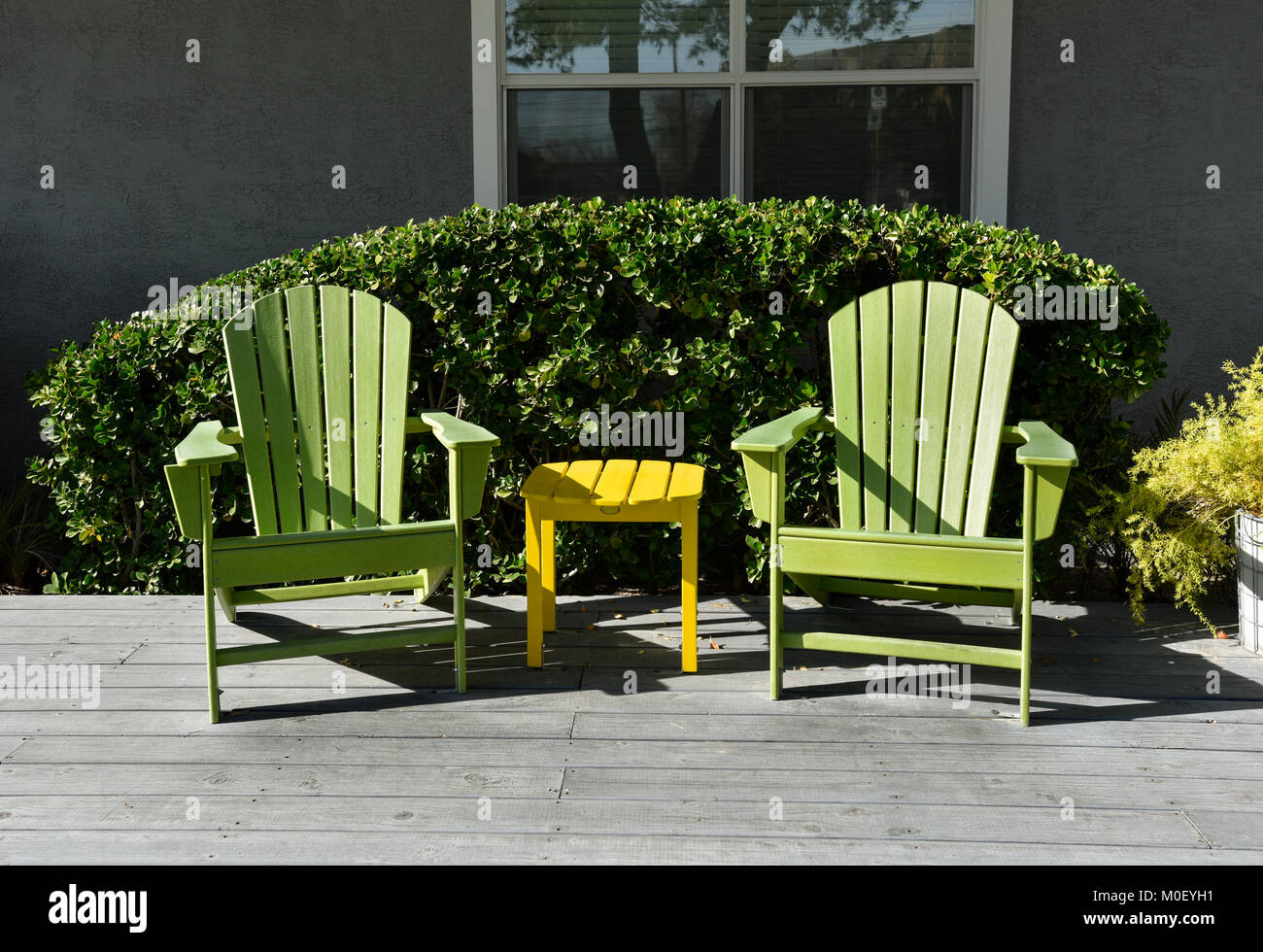Wooden Adirondack Chairs On Deck Stock Photos Wooden
