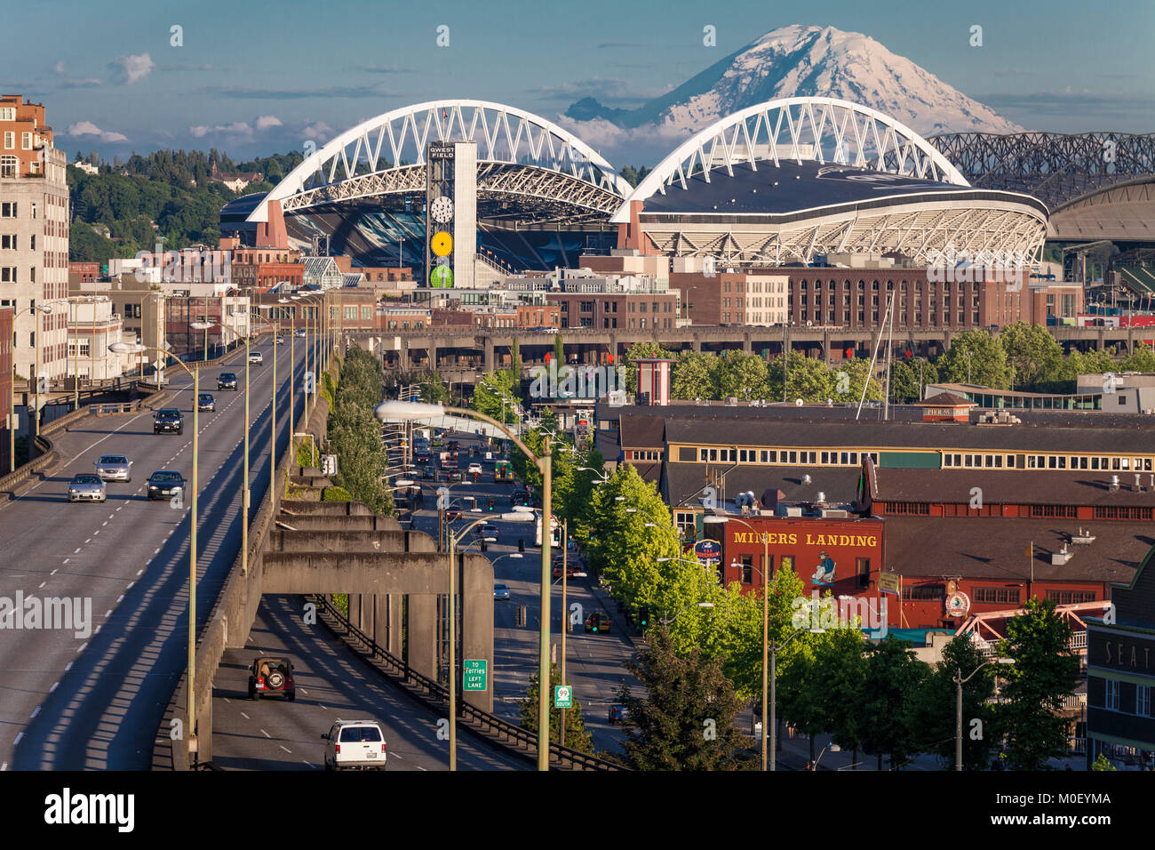 Waterfront, 99 viaduct, stadiums, Mt Rainier, Seattle, Washington, USA - Stock Image