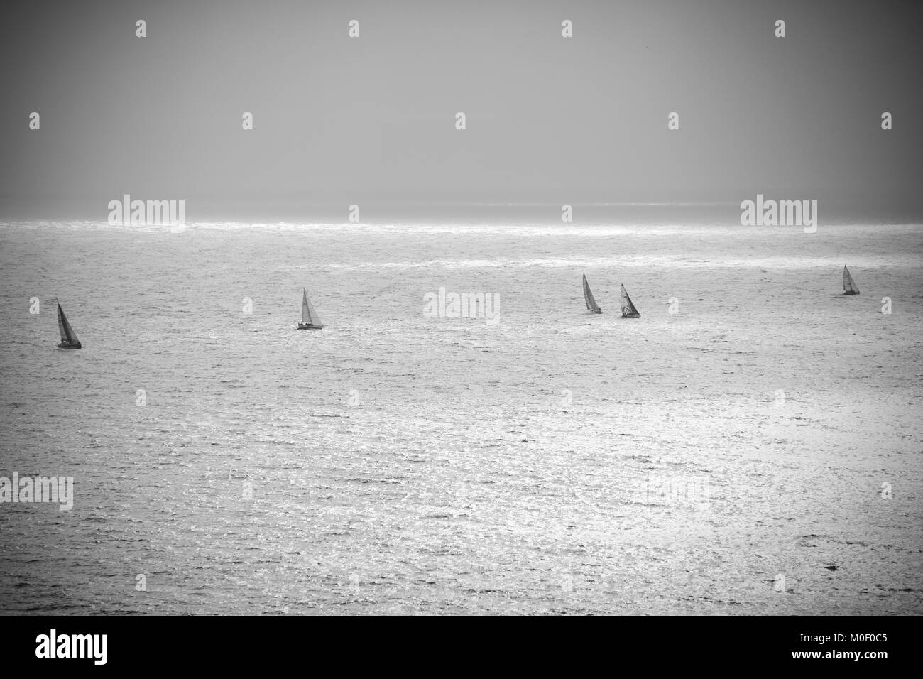 Bay of Naples, Italy, seascape with sails, fine art - Stock Image