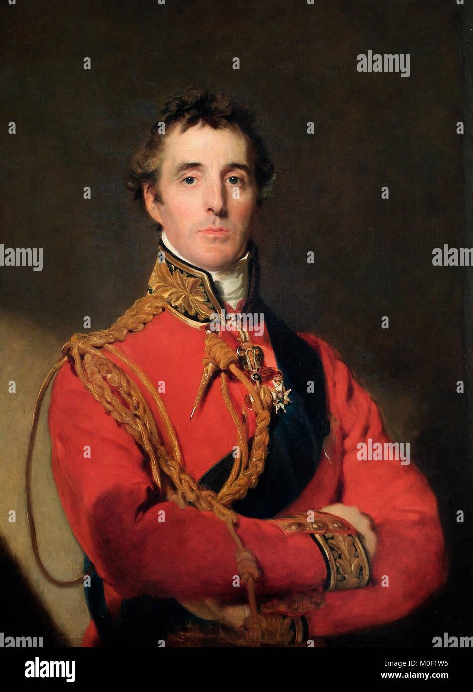 Arthur Wellesley, 1st Duke of Wellington (1769–1852) The Duke of Wellington is standing at half-length, wearing - Stock Image