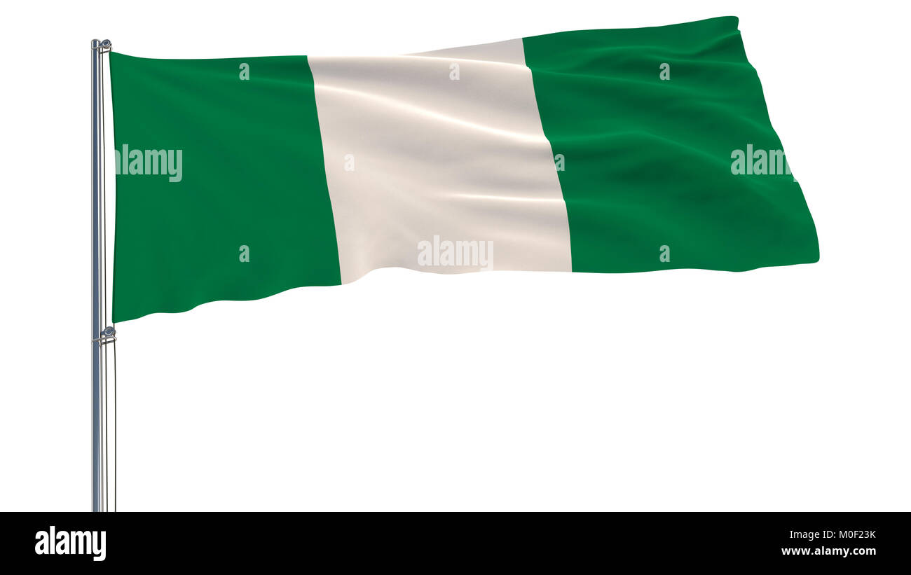 Flag of Nigeria on a flagpole fluttering in the wind on a white background, 3d rendering - Stock Image