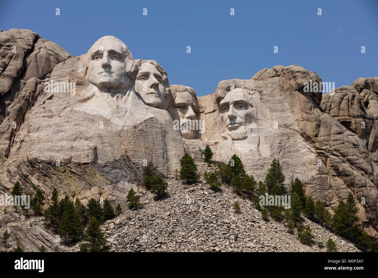 The Mount Rushmore National Memorial in Keystone South Dakota showing George Washington, Thomas Jefferson, Theodore - Stock Image