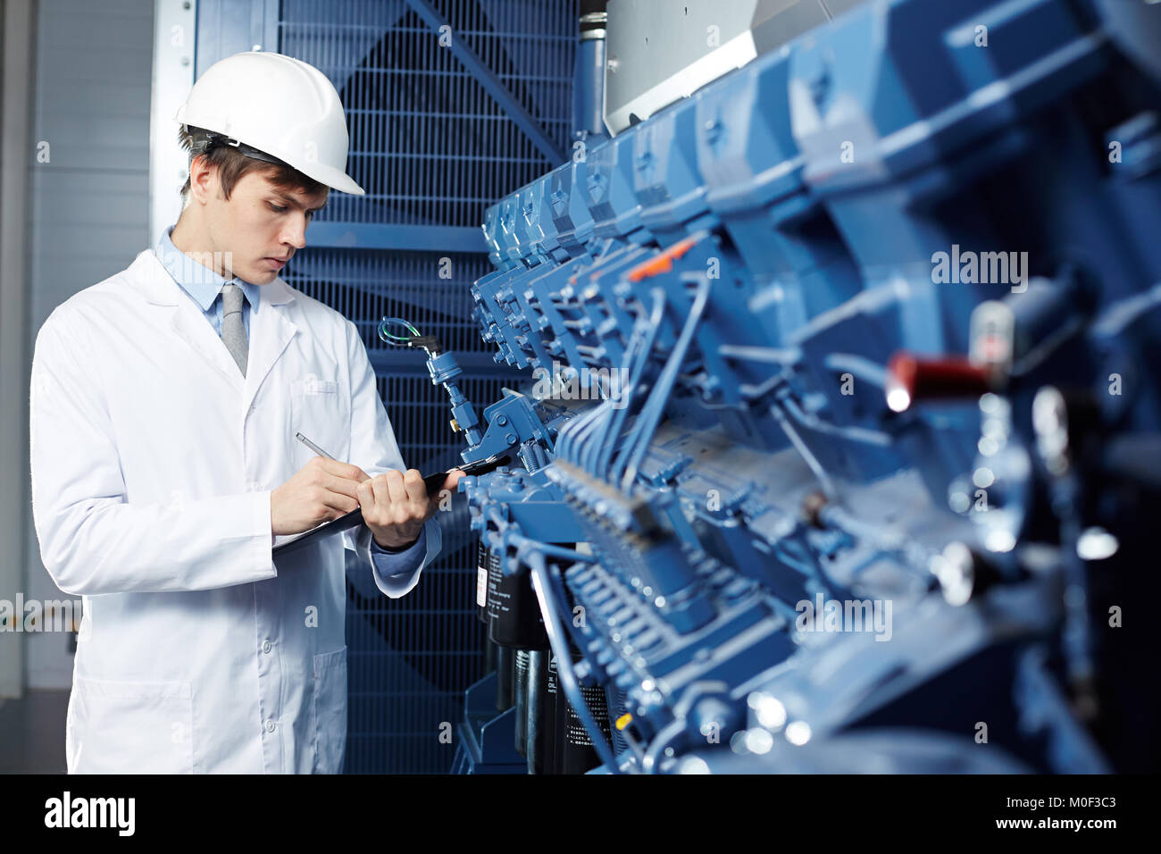 Working in technical lab - Stock Image