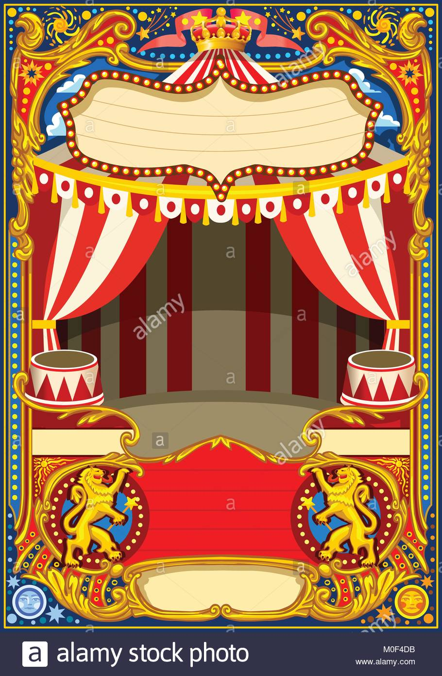 Circus Cartoon Poster Theme Vintage Frame With Circus Tent For Kids