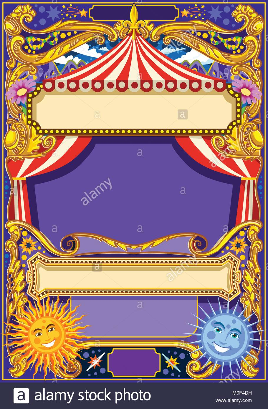 Circus Background Theme Vintage Frame With Tent For Kids Birthday Party Invitation Or Post Quality Template Vector Illustration