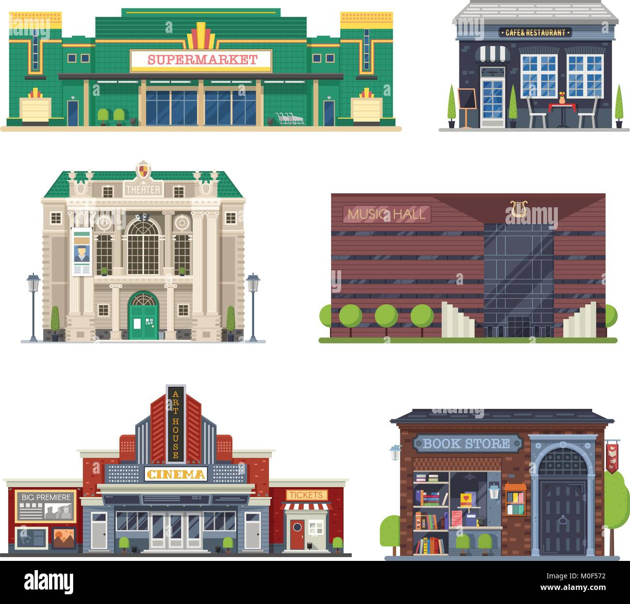 City Public Buildings Set - Stock Vector