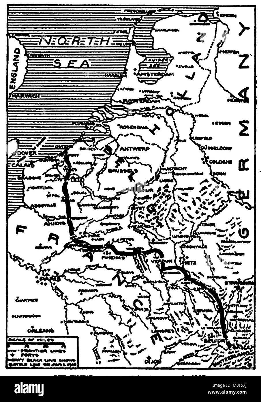 WWI - A 1917 map showing military activity in the 1914-1918 First World War - The Western Battle lines, France & Stock Photo