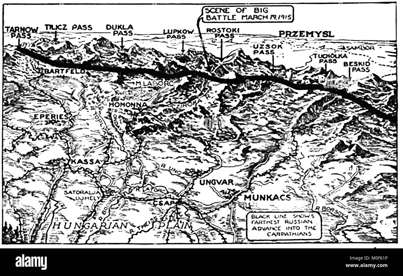 WWI - A 1917 map showing military activity in the 1914-1918 First World War -   Italian attack on Austria & Russian Stock Photo