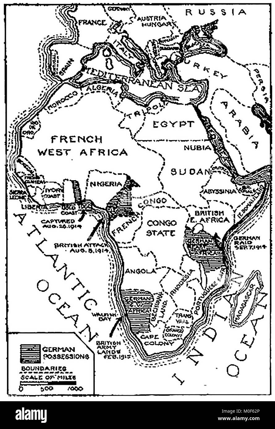 WWI - A 1917 map showing military activity in the 1914-1918 - First World War - The campaign in  Togoland & - Stock Image