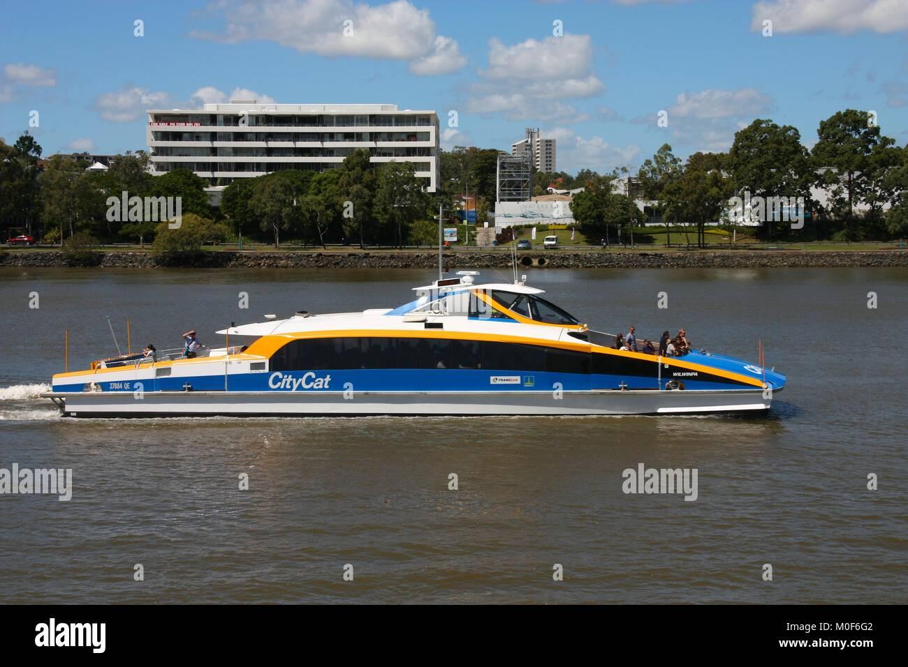 BRISBANE, AUSTRALIA - MARCH 20, 2008: People ride the CityCat catamaran, public ferry service in Brisbane. 21 CityCat - Stock Image