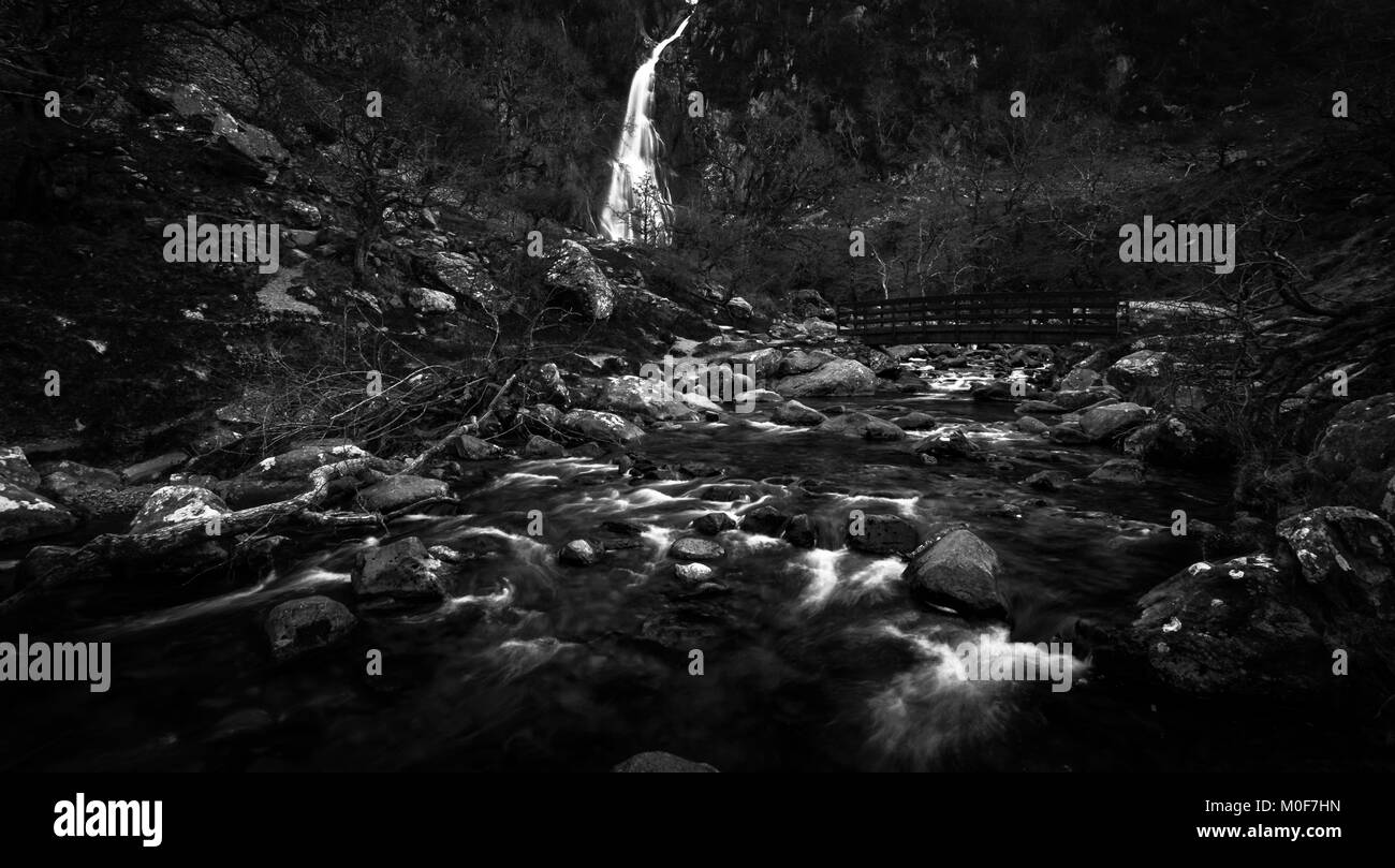 Aber Falls Wales UK Black and White - Stock Image