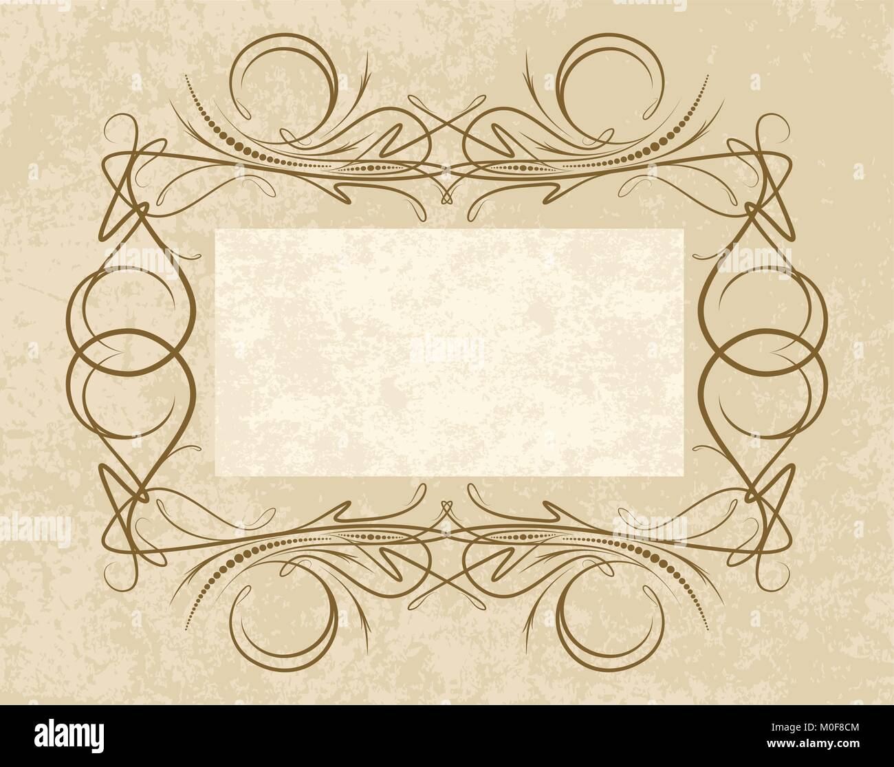 Old frame on aged paper retro vintage greeting card invitation or old frame on aged paper retro vintage greeting card invitation or template for notes stopboris Choice Image