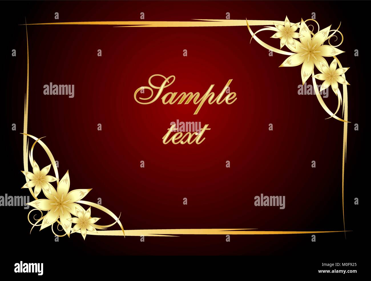 90a75767837 Abstract red background with floral frame Stock Vector Art ...