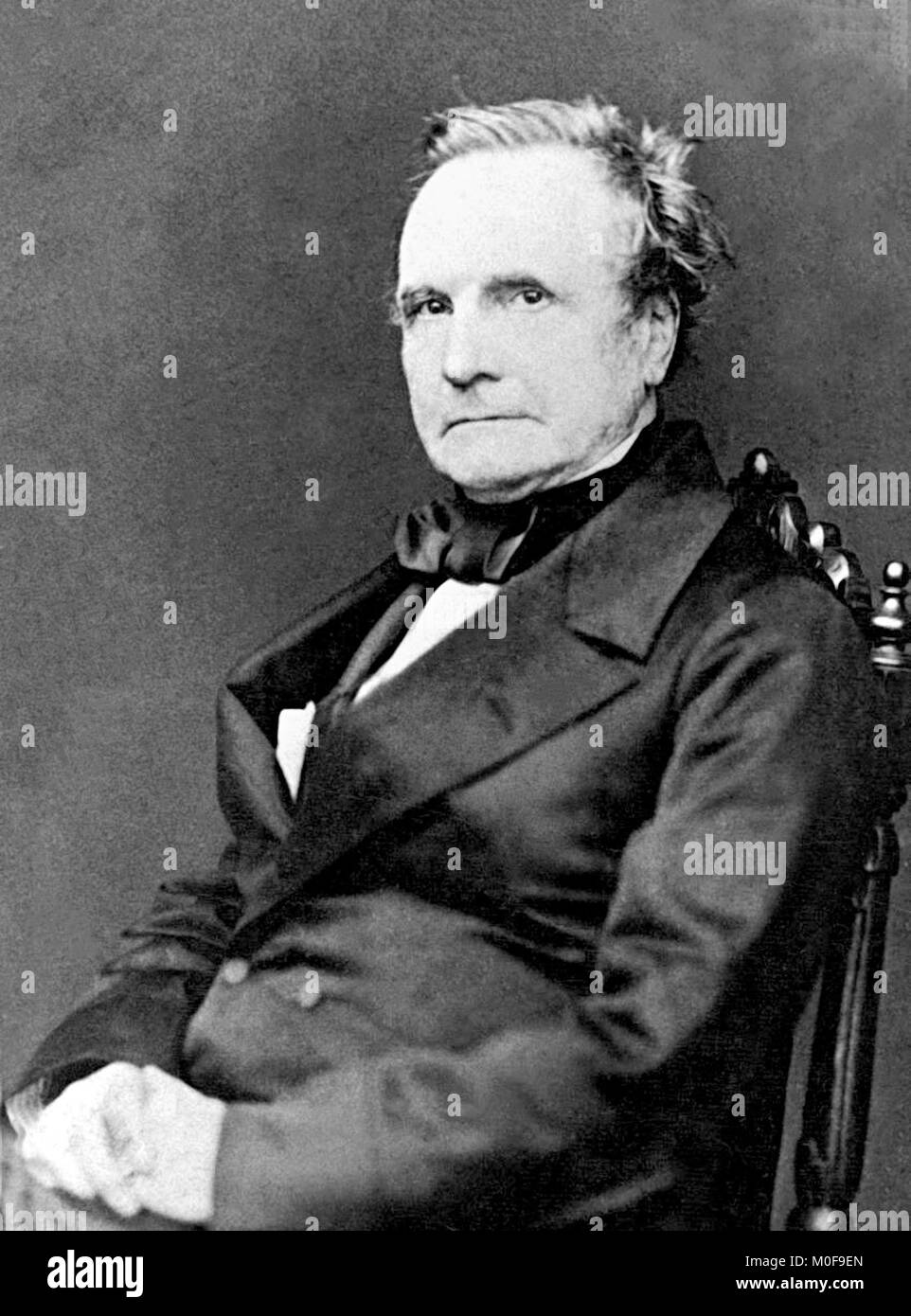 Charles Babbage (1791-1871). 1860 Portrait of the English mathematician who originated the concept of a digital - Stock Image