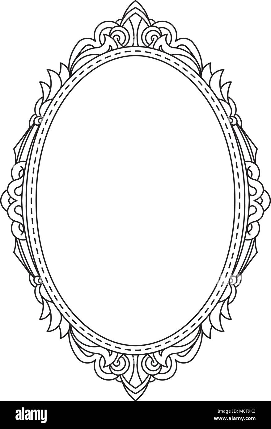 Antique Vintage Oval Frame With Blank Space For Text May Be Used As Greeting Card Or Invitation Vector Illustration Template In Retro Style