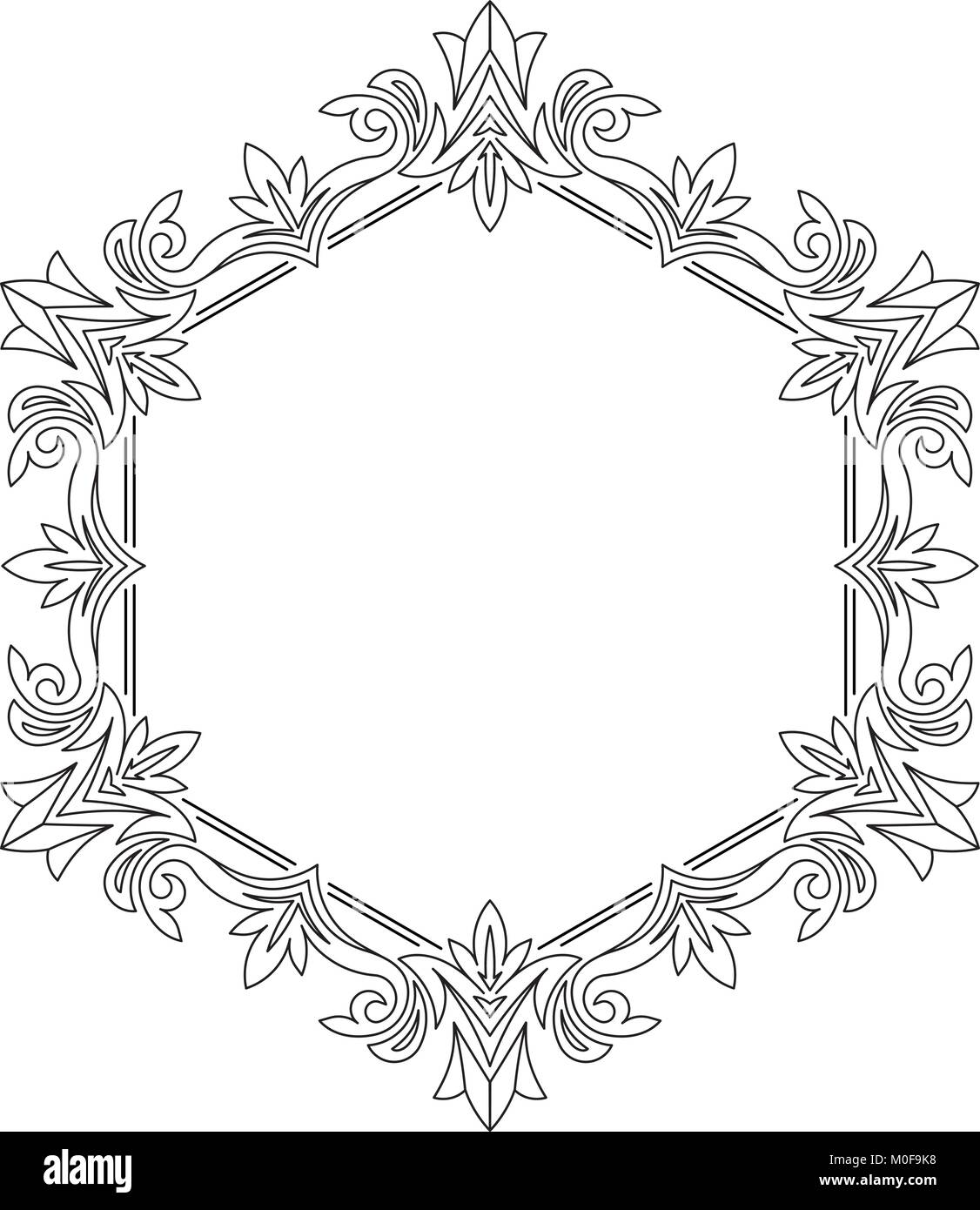 Unusual, hexagonal, lace frame, decorative element with empty place for your text. Vector illustration. Stock Vector