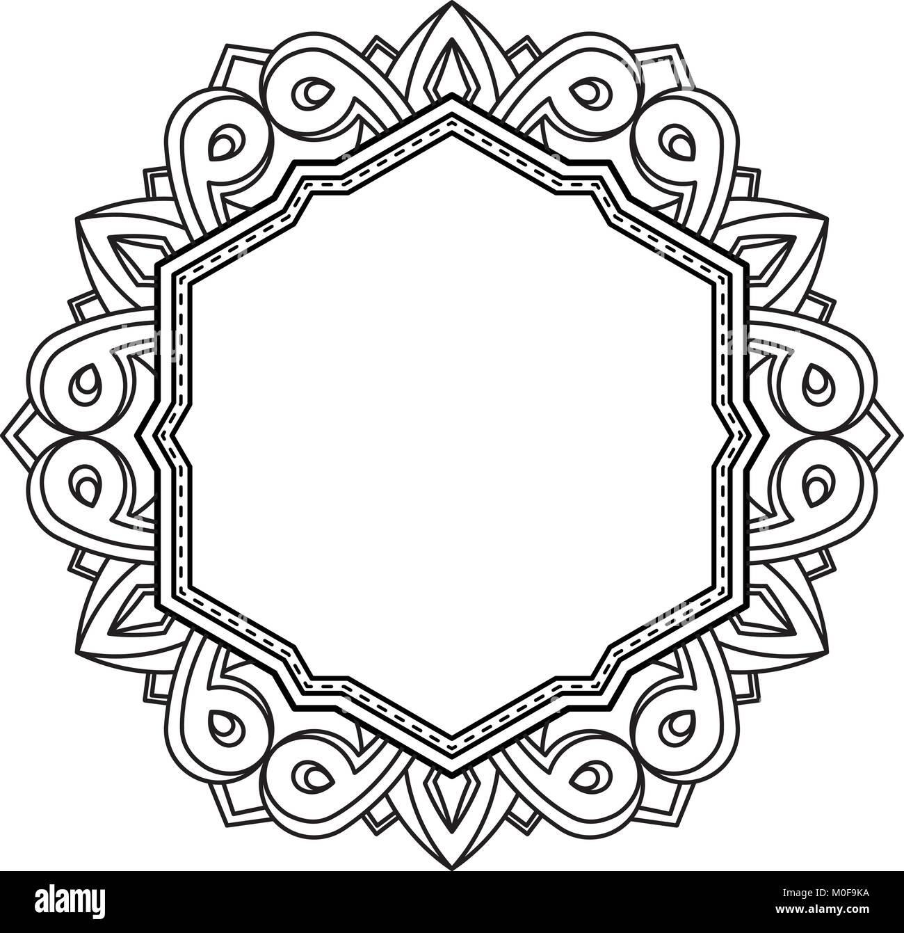 Unusual, hexagonal, lace frame, decorative element with empty place for your text. Vector illustration. - Stock Vector