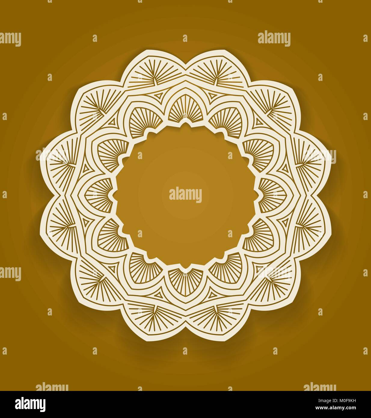 Round ornamental frame, circle floral background, mandala pattern, vector illustration in brown color. Can be used Stock Vector