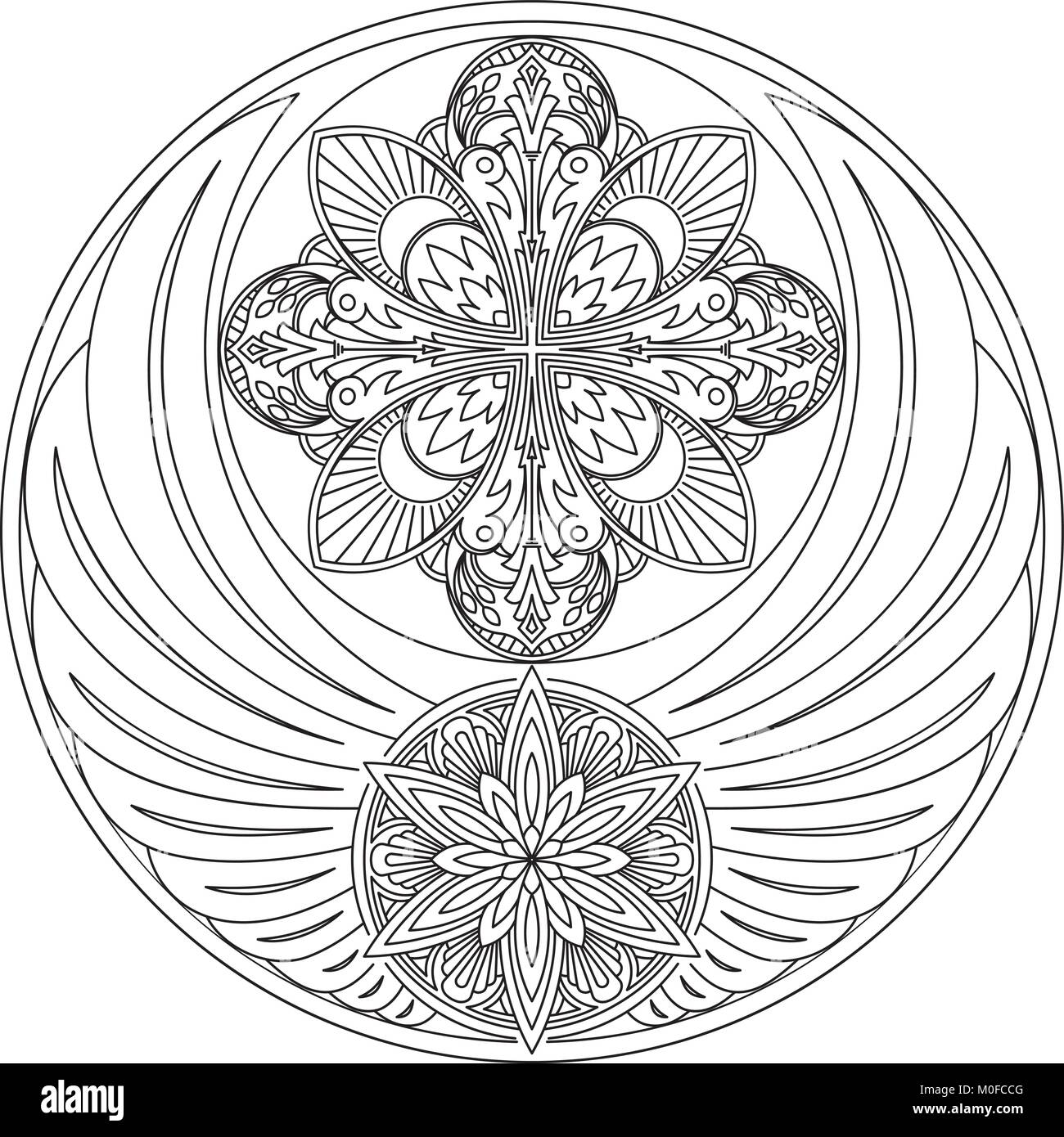 d364f7fec The unusual round design with wings and two mandalas. It can be used for a