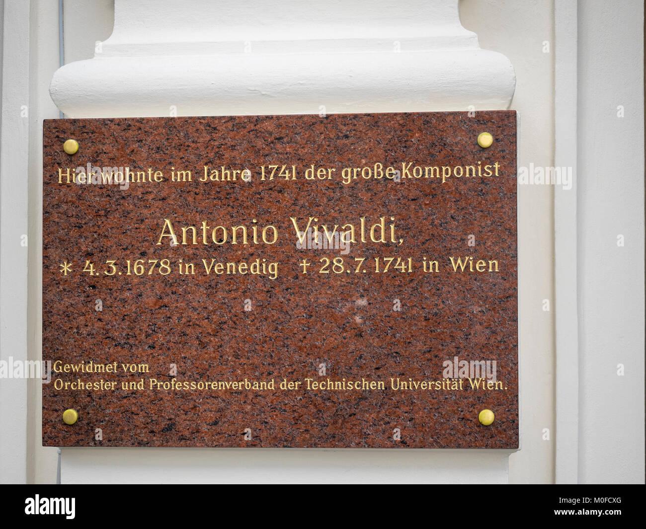VIENNA, AUSTRIA:  Memorial Plaque to Antonio Vivaldi on Philharmonikerstrasse - Stock Image