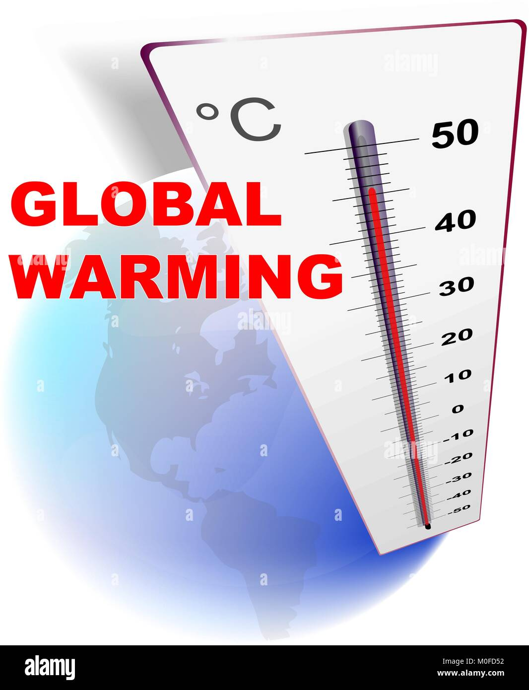 Eco design — global warming with globe and thermometer - Stock Vector