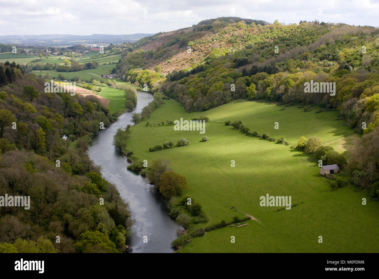 Vista of River Wye from Symond's Yat Rock, Forest of Dean, England - Stock Image
